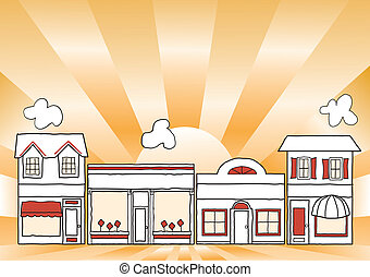 Small business main street illustration, downtown community shops and stores; gold ray background; copy space. EPS8 compatible.