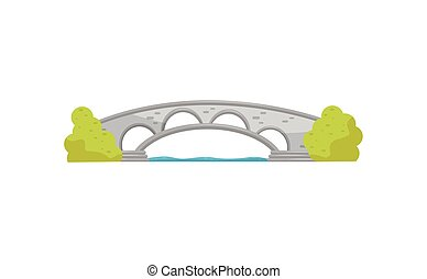 Small stone arch bridge and green bushes. Walkway across the river. Landscape element for city park. Flat vector design