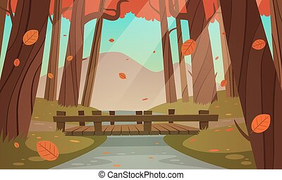 Small wooden bridge in the woods