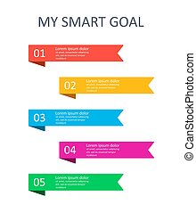 SMART goals infographic. Four steps to reach your goal. Target setting. Vector
