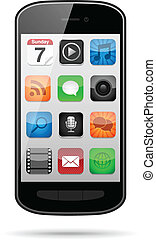 Vector smartphone with app icons on its screen. Eps10 file with transparency.