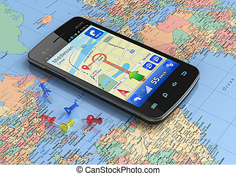 Touchscreen smartphone with GPS navigation on world map *** Design of this device is my own and all text labels are fully abstract