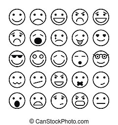 Smiley faces elements for website design isolated vector illustration