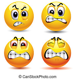 Smiling balls with different face expression of anger