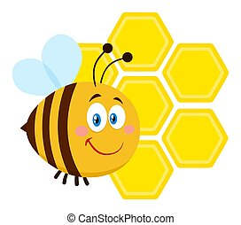 Smiling Bee Cartoon Character Bee Flying In Front Of A Honeycombs