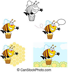 Smiling Bee Flying. Collection