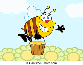 Smiling Bee Flying Over Flowers