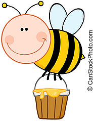 Smiling Bee Flying