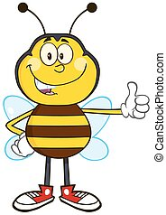 Smiling Bee Showing Thumb Up
