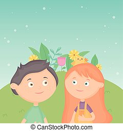 smiling boy and girl in the park with flower foliage