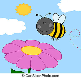 Bumble Bee Flying Over Flower