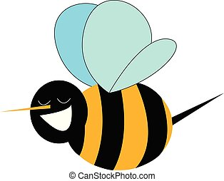 Smiling bumble bee print vector on white background