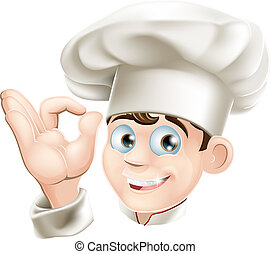 Illustration of a happy smiling cartoon chef in a chef hat