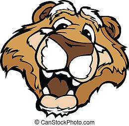 Cougar or Moutain Lion Mascot with Cute Face Cartoon Vector Image