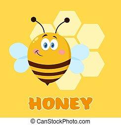 Smiling Cute Bee Cartoon Character