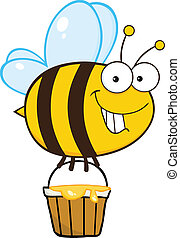 Smiling Cute Bee Flying