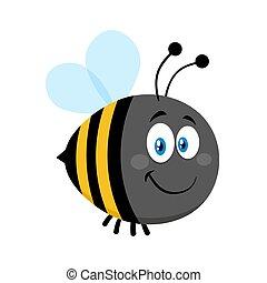 Smiling Cute Bumble Bee Cartoon Character