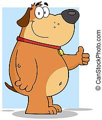 Smiling Fat Dog Cartoon Character