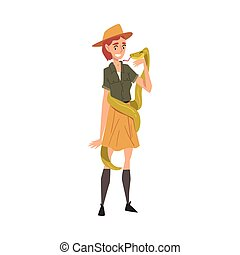 Smiling Female Worker with Snake, Veterinarian or Professional Zookeeper Character Caring of Wild Animals in Cartoon Vector Illustration