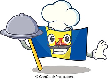 smiling flag madeira as a Chef with food cartoon style design