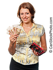 Smiling girl with a purse and money in hands