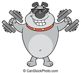 Smiling Gray Bulldog Cartoon Mascot Character With Sunglasses Working out with Dumbbells