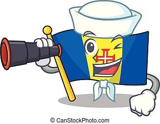Smiling happy Sailor with binocular flag madeira cartoon design