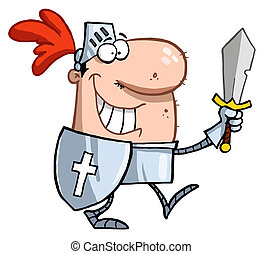 Smiling knight with sword and shield