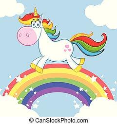 Smiling Magic Unicorn Cartoon Mascot Character Running Around Rainbow With Clouds