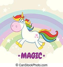 Smiling Magic Unicorn Cartoon Mascot Character Running