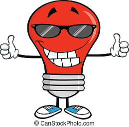 Smiling Red Light Bulb With Sunglasses Giving A Double Thumbs Up