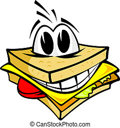 Smiling sandwich wth cheese, salad and meat for fast food design