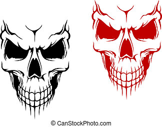 Smiling skull in black and red versions for t-shirt or halloween design