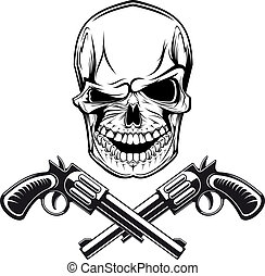 Smiling skull with revolvers for tattoo design