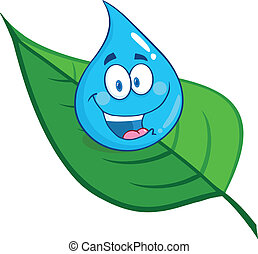 Smiling Water Drop On A Leaf