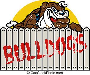 smirking bulldog with fence