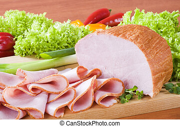 Smoked ham on a cutting board