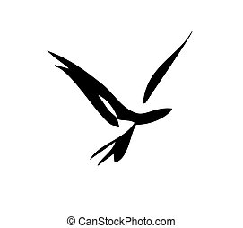 Simple bird in flight design in simple strokes.