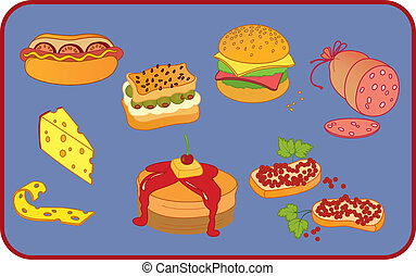 Icon set of ten snack items on blue background