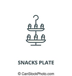 Snacks plate vector line icon, linear concept, outline sign, symbol