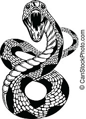 Vector illustration of snake with an open mouth on white background