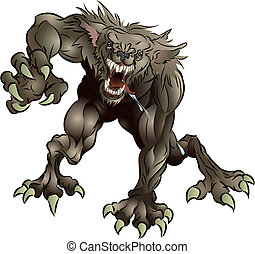 A mean snarling scary werewolf attacking the viewer