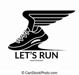 Sneaker with wings. Running sport shoe symbol, icon, logo. Let's run concept. Vector illustration
