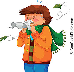 person blowing his nose in a chilly weather