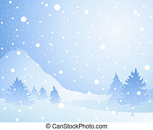 an illustration of a cold winter seasonal christmas landscape with misty fir trees in a snow shower under an icy blue sky