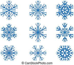Design snow flakes set on white background
