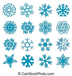 Set of original blue snow flakes. Vector available.