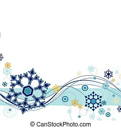 Snow flurries and abstract design on a white background.