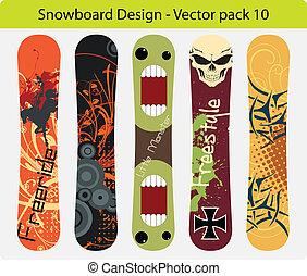 Vector pack of five snowboard design