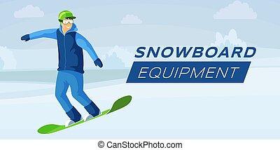 Snowboard equipment flat vector banner template. Snowboarding hobby, winter activities and ski resort recreation, extreme wintersport illustration. Cartoon character enjoying sport, having fun outdoor